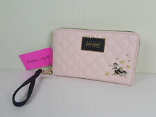 NWT BETSEY JOHNSON WOMEN PINK BEE ZIP AROUND LARGE TRAVEL WALLET WRISTLET