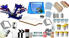 4 Color 1 Station Screen Printing Press & Material Full Kit Shirt Processing DIY