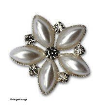 100 x Self Adhesive White Flower Wedding Invitation Cluster Brooch Buckle