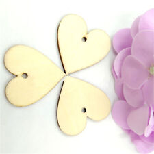 100Pcs Solid Wood Unfinished Wooden Board Crafts DIY Tags Heart with Holes 20mm