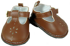 Brown Flower T Strap Mary Jane Shoes Fits 18 inch American Girl Dolls