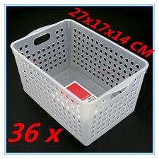 36 X Multipurpose Plastic Storage Deep Basket Home Office Organiser 27x17x14cm