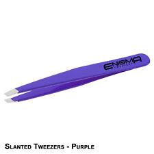 Professional Stainless Steel Eyebrow Hair Beauty Slanted Tip Tweezers - Purple