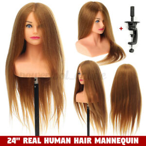 "24"" 100% Real Human Hair Mannequin Head Hairdressing Training Head + Stand"