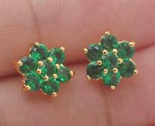 Ohr ringe Blume Stecker grün smaragd turmalin schmuck gelb gold christ blümchen