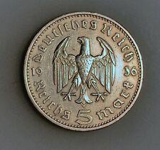 Germany - Third Reich 5 Reichsmark 1936 A KM# 86  VF
