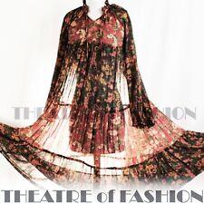 INDIAN DRESS PHOOL 70s VINTAGE BOHO 8 10 12 14 16 18 60s HIPPY WEDDING GODDESS