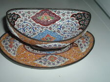 Antique Hand Painted Enamel over Copper Bowl and Tray Islamic