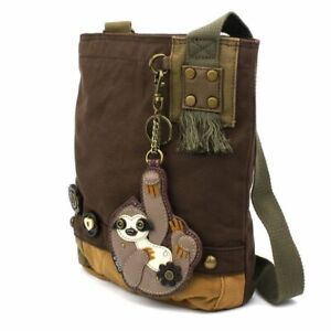 NEW Chala Messenger Patch Crossbody Bag Canvas Dark Brown Gift SLOTH Coin Purse