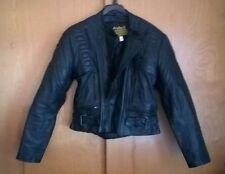 PROTECH leather motorcycle jacket, PADDED FITTED SIZE 44, lined w/ zipped vents