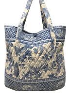 VERA BRADLEY XL Vera Tote Shoulder Bag in BLUE TOILE Retired RARE!