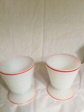 "Vintage White Milk Glass Footed Goblet Tumbler Thumbprint 3 3/4"" unmarked set of"