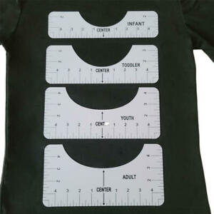 4Pcs/Set T-Shirt Alignment Rulers Guiding T-Shirt Design Ruler with Size Chart