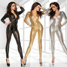 Womens Sexy Catsuit Bodysuit Crotchless Playsuit Jumpsuit Lingerie Clubwear UK