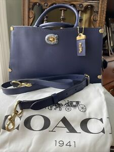 $695 Coach 1941 Exotic Snakeskin Detail Mason Glovetanned Leather Bag Cadet NWT