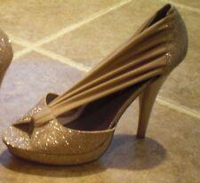 Madden Girl Gold Glitter High Heels Platform Dressy Shoes Size 9