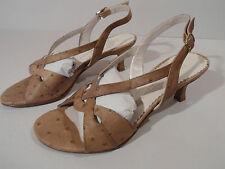Moda Di Fausto Ladies Brown Leather Sole Shoe Heel Slingback EU 33 UK 1 Italian