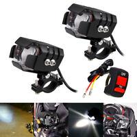 Motorcycle Spot Light LED Driving Headlight Fog Driving Lamp & Switch Waterproof
