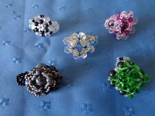 5 Ringe Perlenringe verschiedene Farben Größen u.a. mit Hämatit Onyx Obsidian