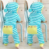 Newborn Infant Baby Boy Girls Romper Hooded Jumpsuit Bodysuit Clothes Outfit New