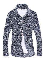 New Stylish Long Sleeve Floral Shirt Button-Down Collar Flower Print Dress Shirt