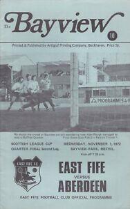 East Fife v Aberdeen 1 Nov 1972 League Cup