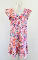 J Crew Mercantile Pink Floral Printed Ruffle Tank Dress Size 4 Flutter Sleeve