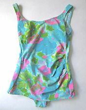 Vtg 60s Mod Blue Pink Green Abstract Floral 1-Pc Bathing Suit Skirt Swimsuit