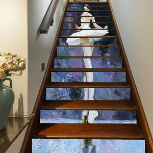 Oil Art Ballet Girl Murals Self-adhesive Staircase Stickers Stair Riser Stickers