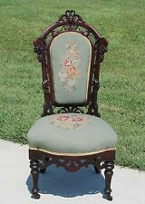 Elegant Victorian Rosewood Belter Style Parlor Chair w Floral Needlepoint c1865