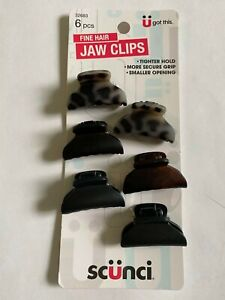 Scunci Fine Hair Jaw Clips 32683 Tighter Hold ( 6 pieces ) Smaller opening grip