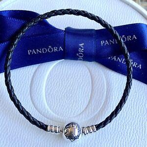 Authentic Pandora Black Braided Single Wrap Leather Bracelet 19cm #590745CBK-S