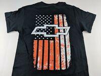 NEW Chevy Chevrolet Orange American Flag Bow Tie Black T Shirt Patriotic USA