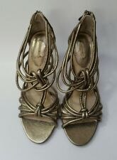 Max Studio Womens Shoes Heels Sandals Strappy Zipper Evenly Gold Metallic Size 7