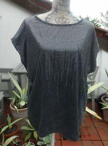 Drykorn For Beautiful People T-Shirt Gr 36 S dunkelblau Nieten oversized Top