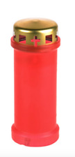 Red & Gold Grave Candle 5 Days Burn Time 17cm Memorial Gift