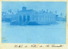 France, Château-Renault, Hôtel de Ville  Vintage print.  cyanotype  12x16