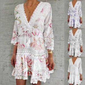 Women Floral Solid Boho V-neck Loose 3/4 Sleeve Lace Beach Short Hollow Dress