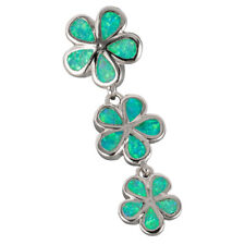 Kiwi Green Fire Opal 3 Plumeria Silver Jewellery Pendant for Necklace