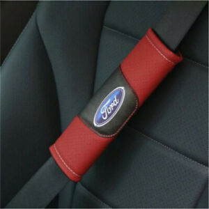 2X Car Seat Belt Shoulder Pads Covers Cushion For FORD Logo Red Breathe Leather