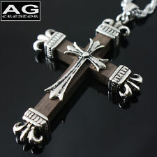 """Gothic brown wooden cross S pendant with 22"""" chain necklace US SELLER"""