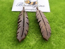 Wooden earrings brown wood laser cut feather shape in dark oak