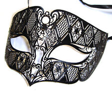 Mens Smoking Black Venetian Metal Filigree Masquerade Party Mask Masked Ball