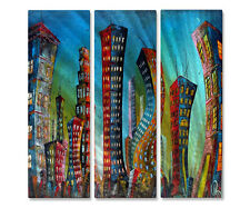 Abstract Cityscape Metal Artwork New York City Jazz Night