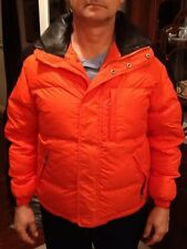 Alex Cannon Jacket Orange Black Size Small Down Lined Coat Windbreaker Biker EUC