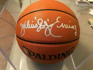 Julius Dr J Erving Autographed Philadelphia 76ers Spalding Basketball UD COA