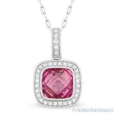 2.20 ct Lab-Made Pink Sapphire Diamond Halo Pave 14k White Gold Necklace Pendant
