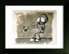 Limited Edition Drawing with Frame - Trumpet - Art by SLAZO - 16x20