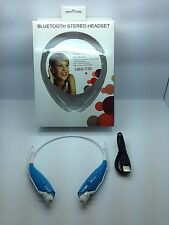 LOT OF 4 NEW BLUETOOTH STEREO HEADSET HANDSFREE AROUND THE NECK UNIVERSAL BLUE