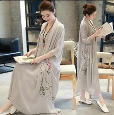 Womens Retro Floral Cotton Blend Linen Full-Long Dress Short Sleeve Soft Crinkle